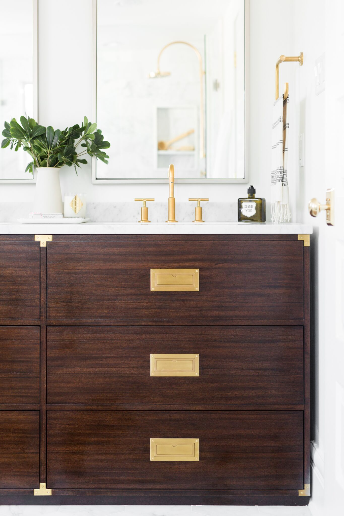 Front of dark wood, modern vanity