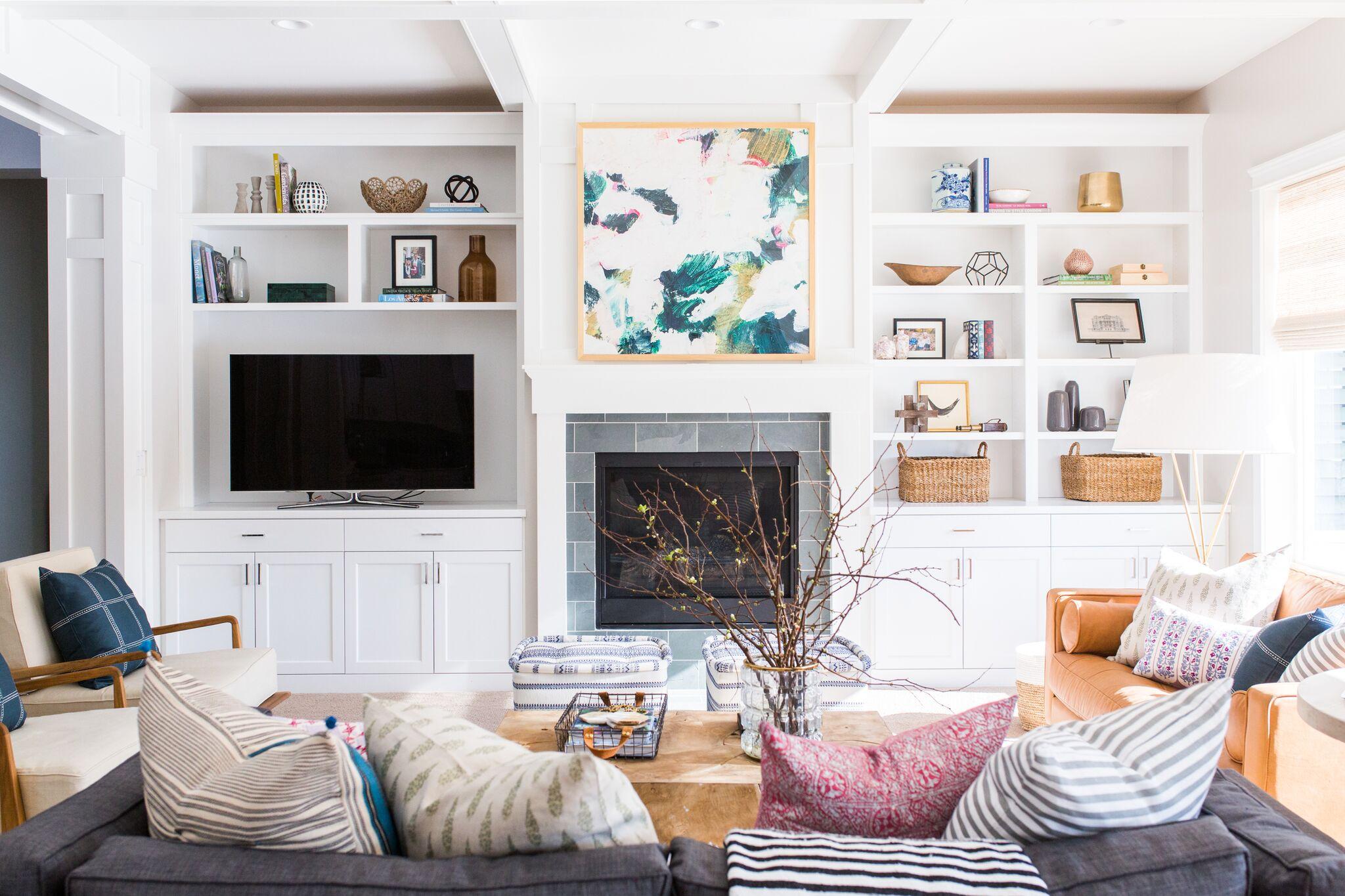 White modern living room on cove street