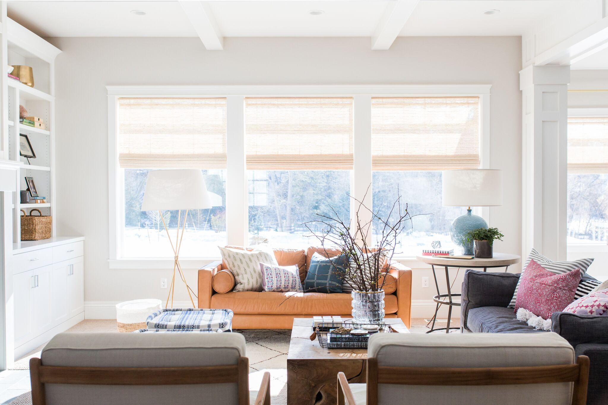 Living room with three large windows