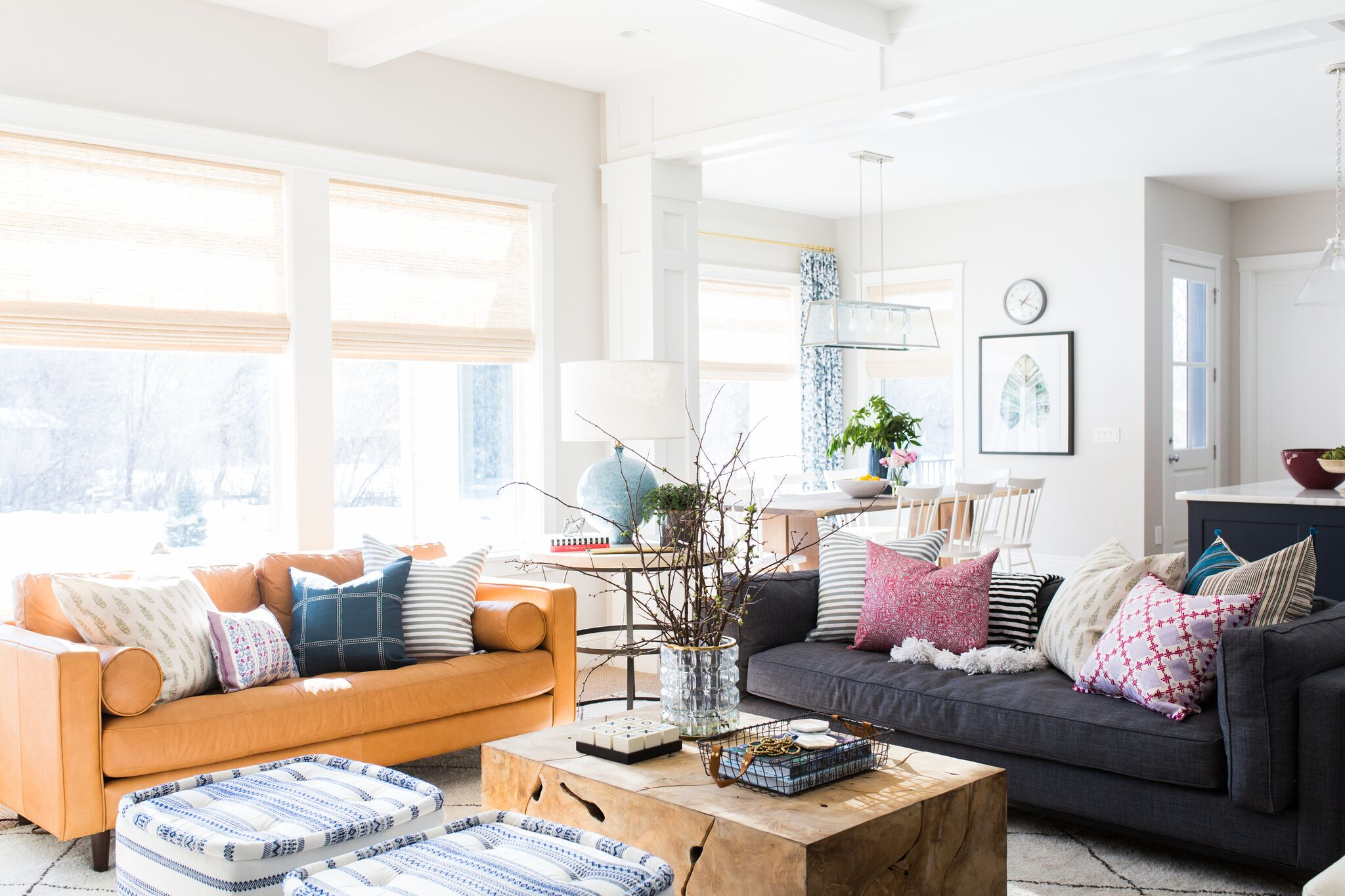 Orange couch in living room