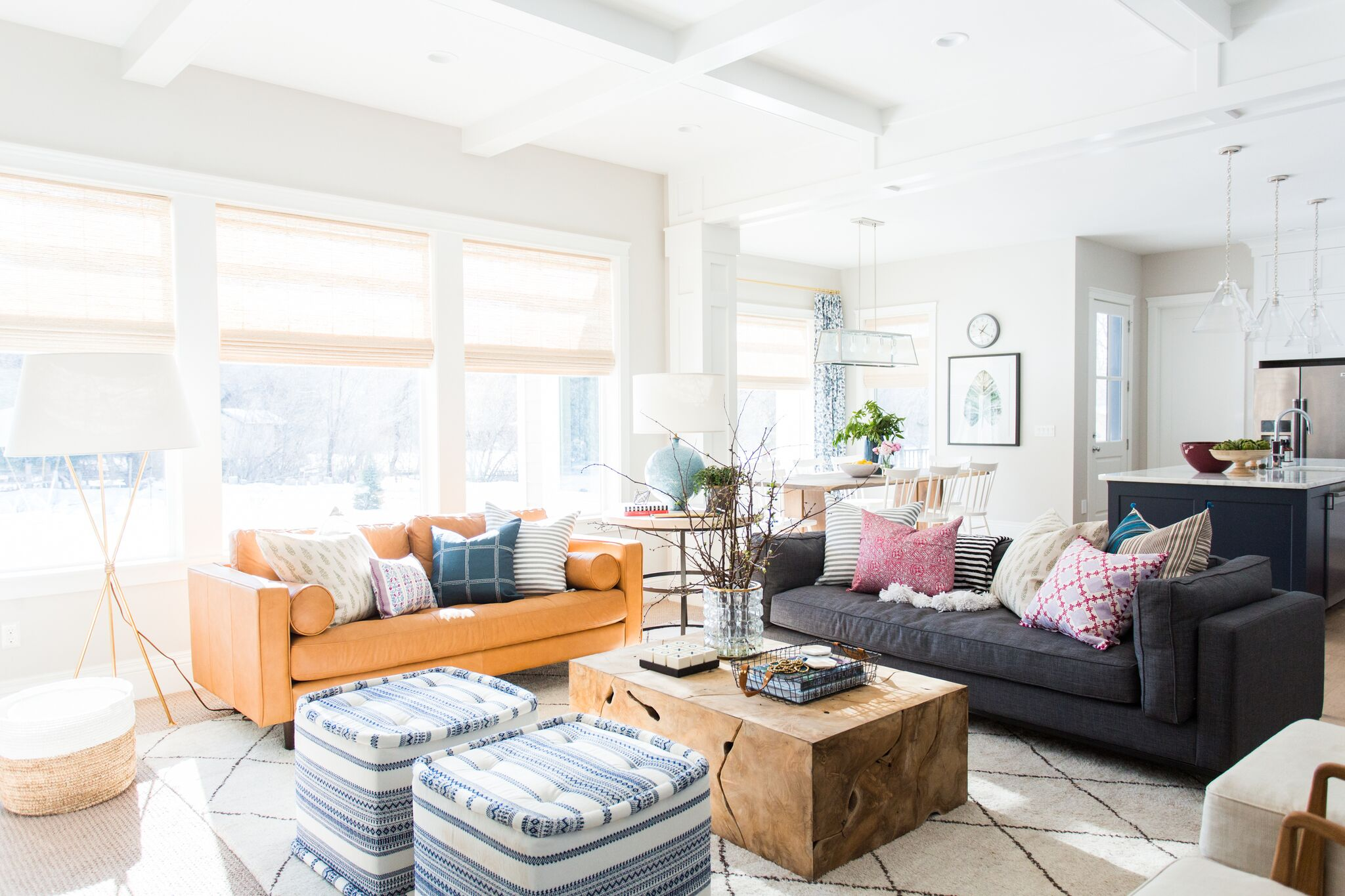 Orange and dark grey couch in living room