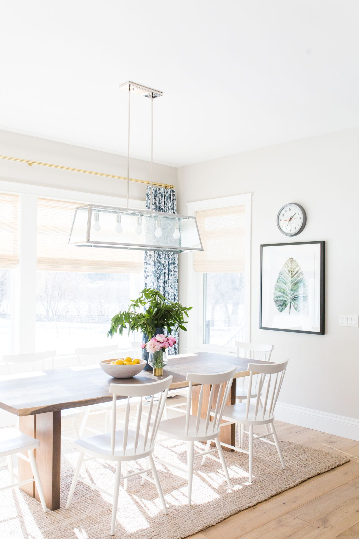Kitchen table on top of cream area rug