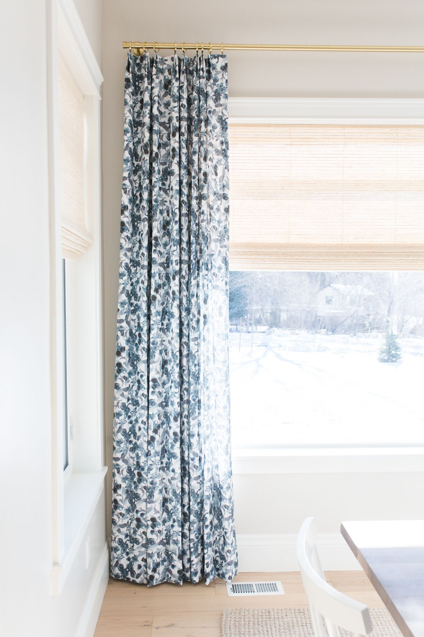 Pattern details on blue and white curtains