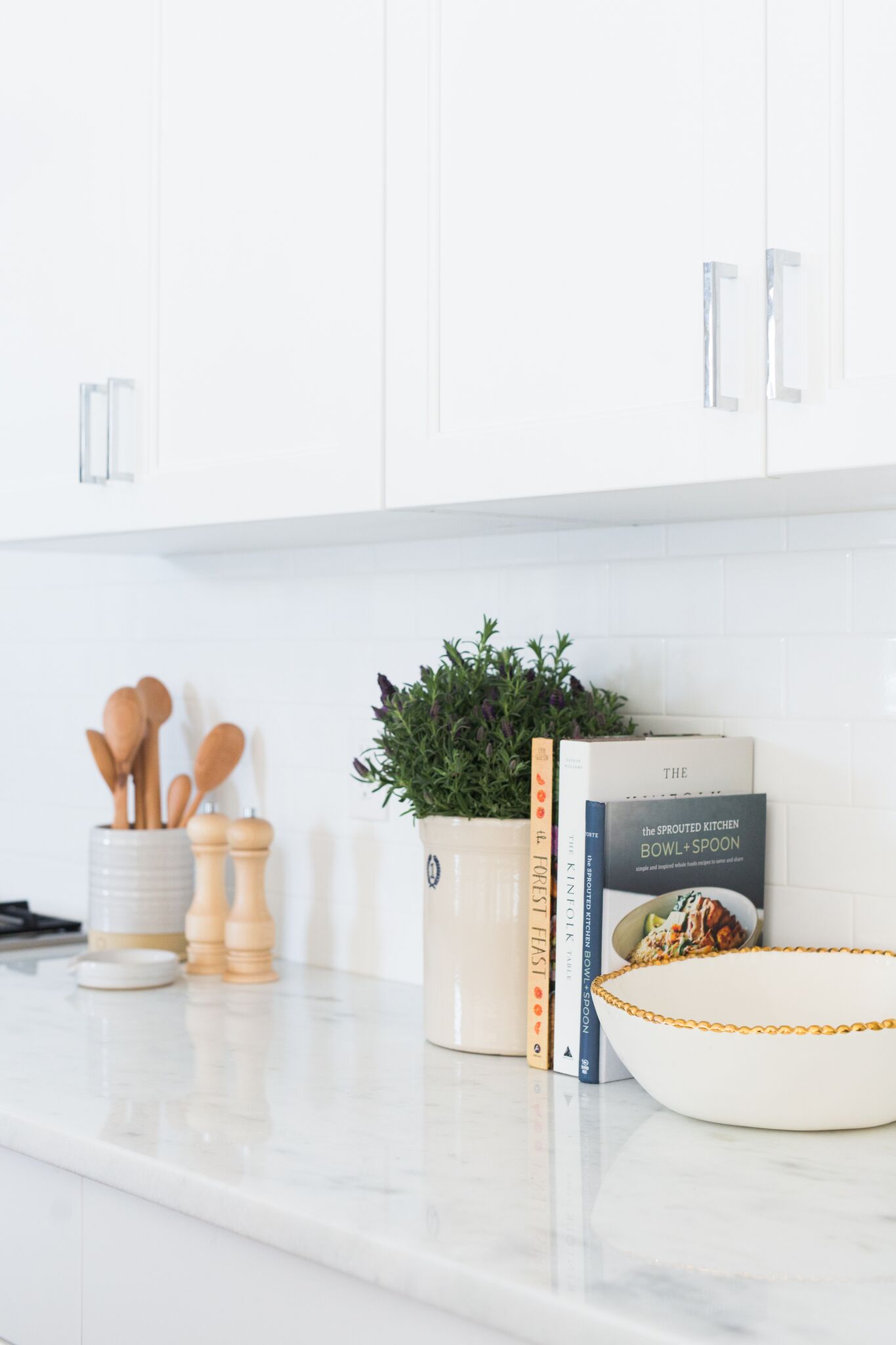 White counter tops on white cabinets