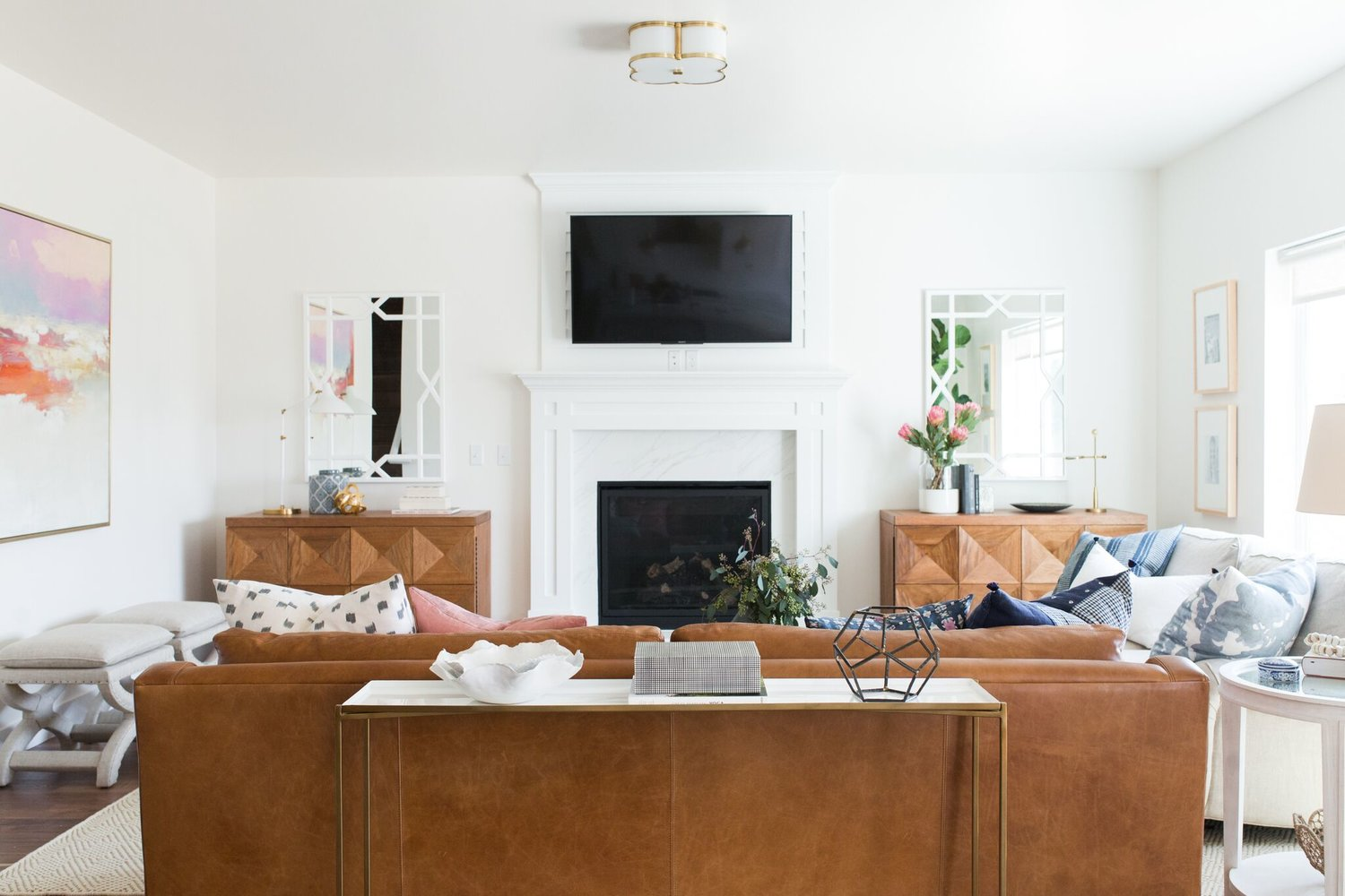 Brown couch with flat screen TV in living room