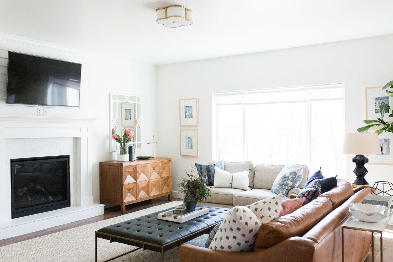 Modern living room with large glass sliding door