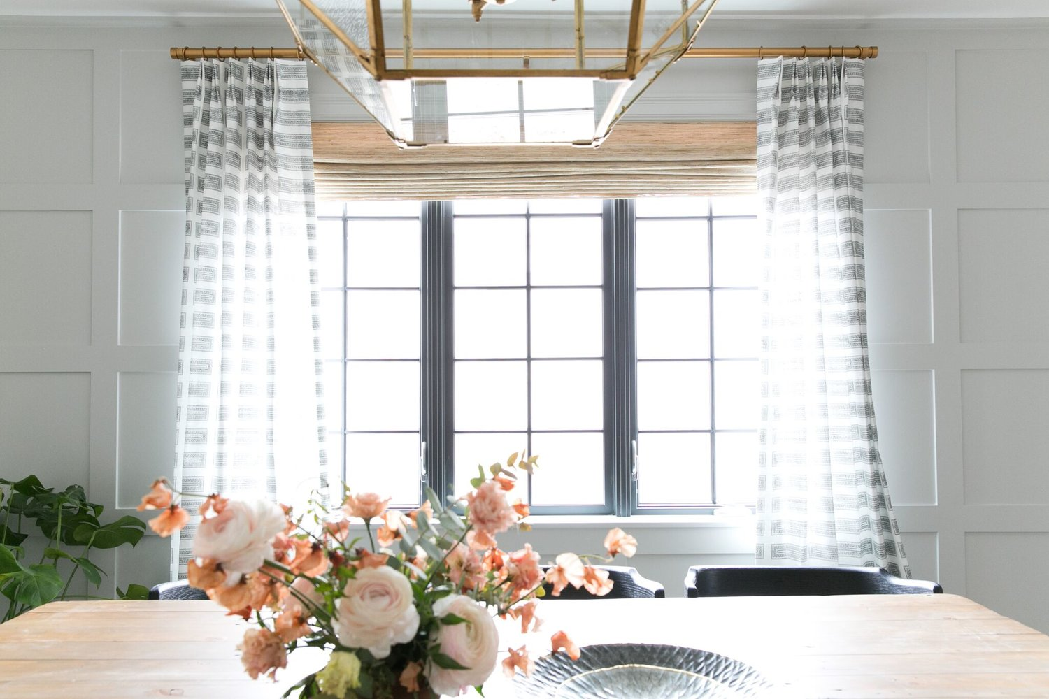 Large window with white curtains