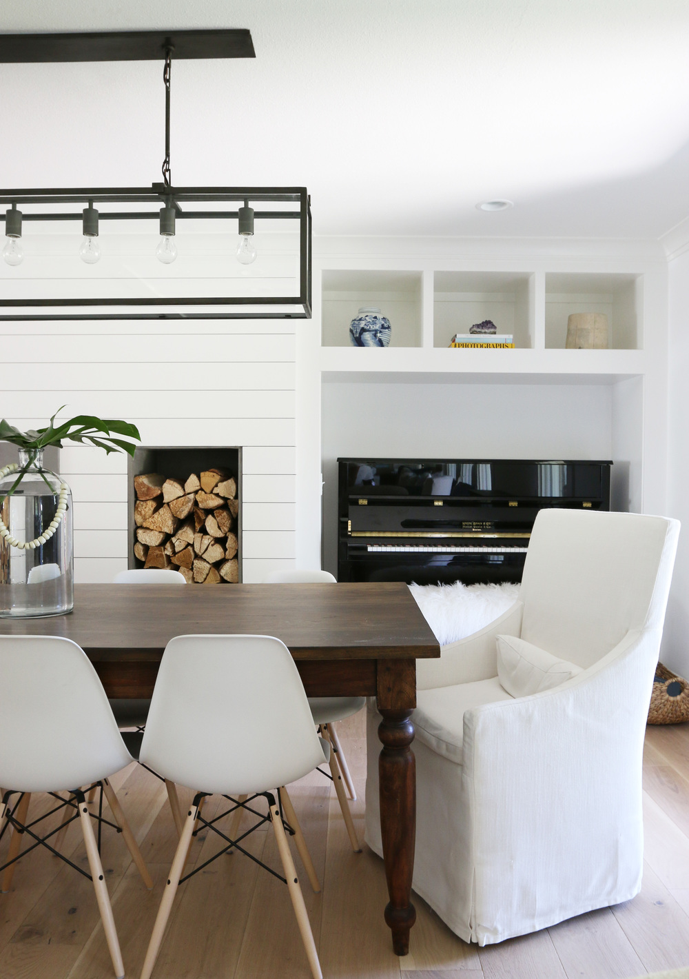 Accent wall with white shiplap.