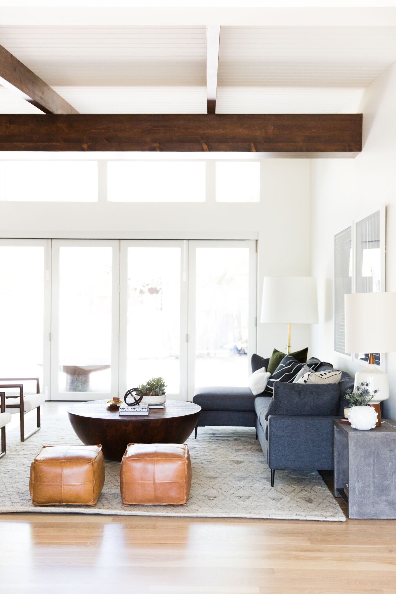 Mid-Century Modern living room with high ceiling