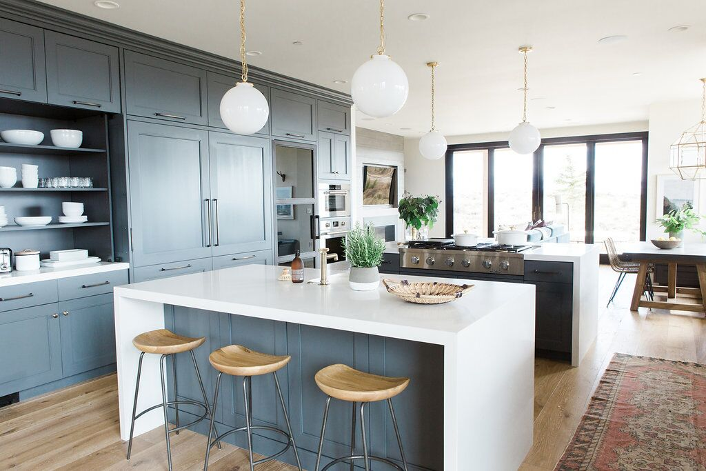 White and grey island in modern kitchen