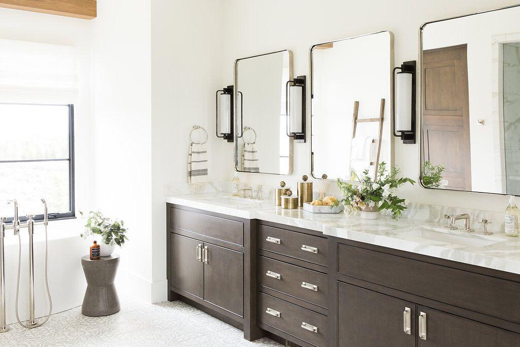 White bathroom with double vanity