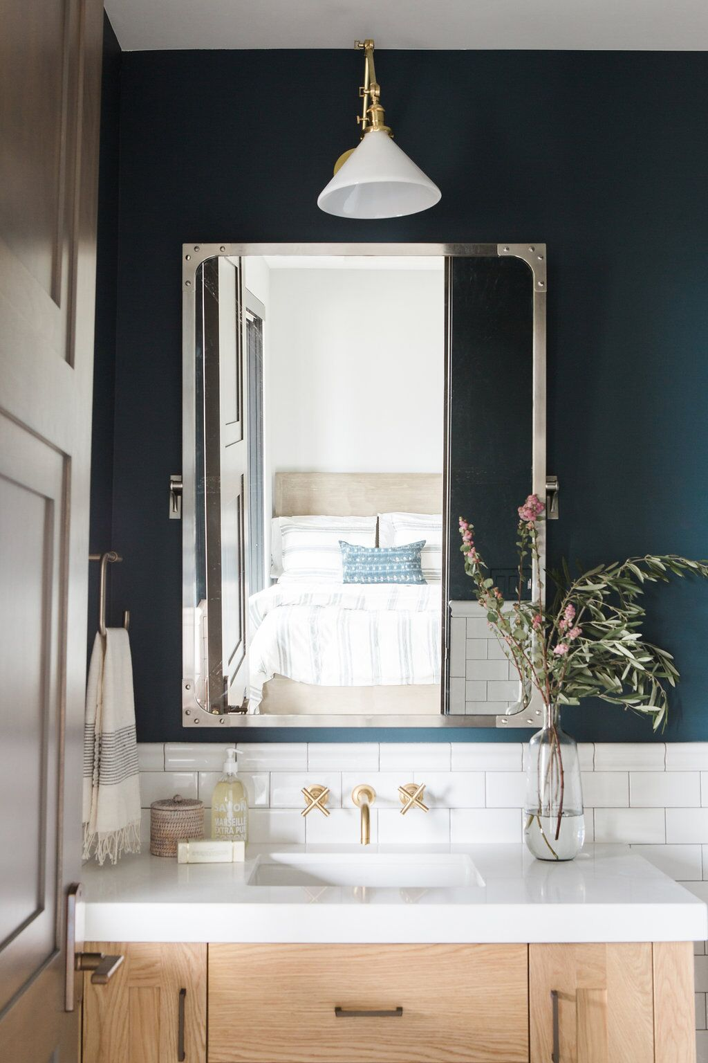 Modern vanity in bathroom in kids room