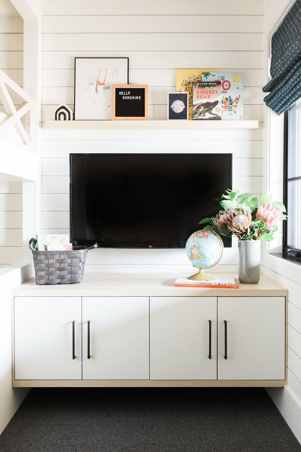 Flat screen tv mounted on white wall