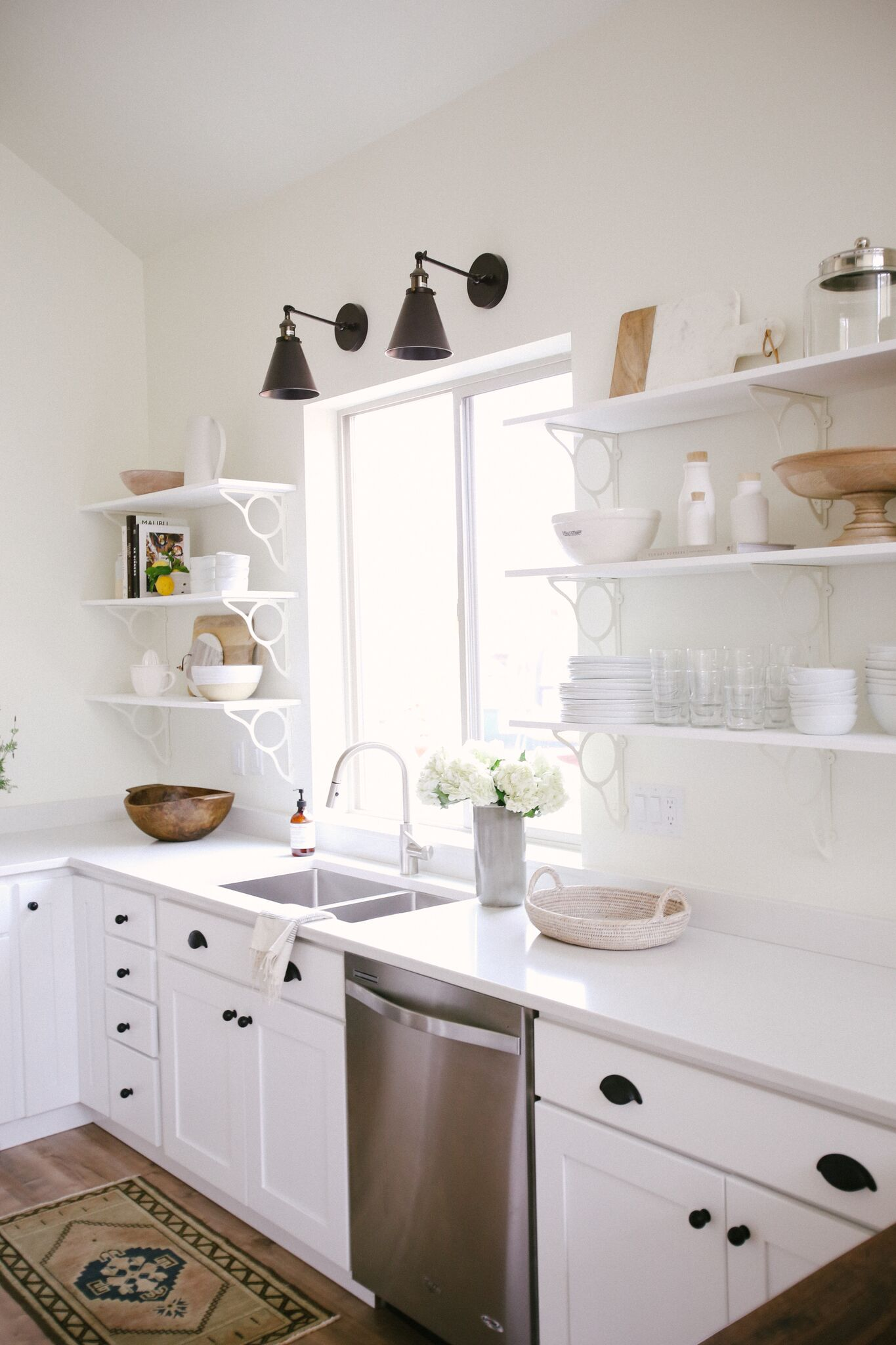 All White Minimalist Kitchen Styling with Black Hardware, Open Shelving, and Natural Wood Accents