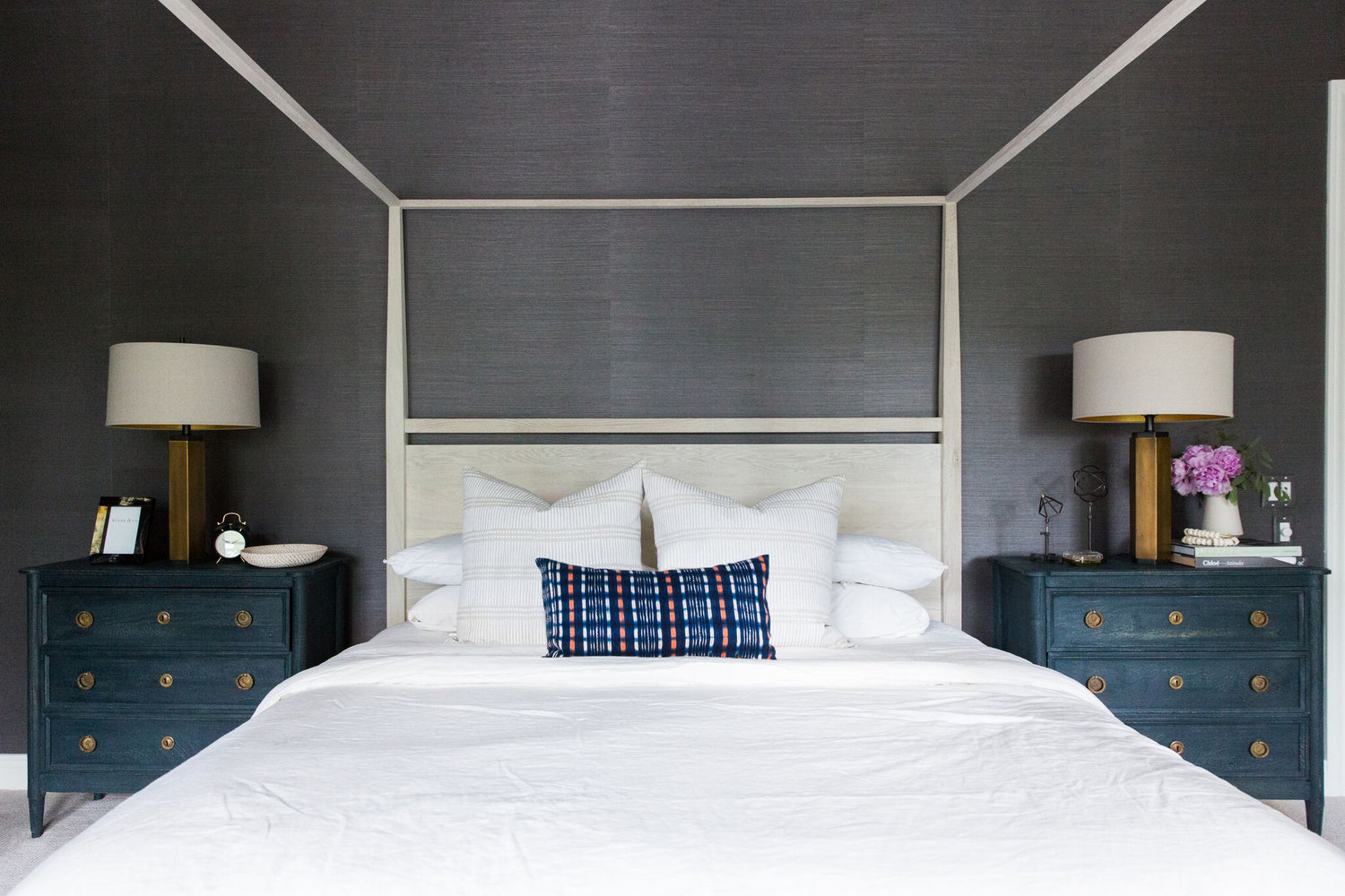 Moody+Bohemian+Master+Bedroom+with+Dark+Grasscloth+Wallpaper,+Four+Poster+Bed,+and+Modern+Lighting.jpg