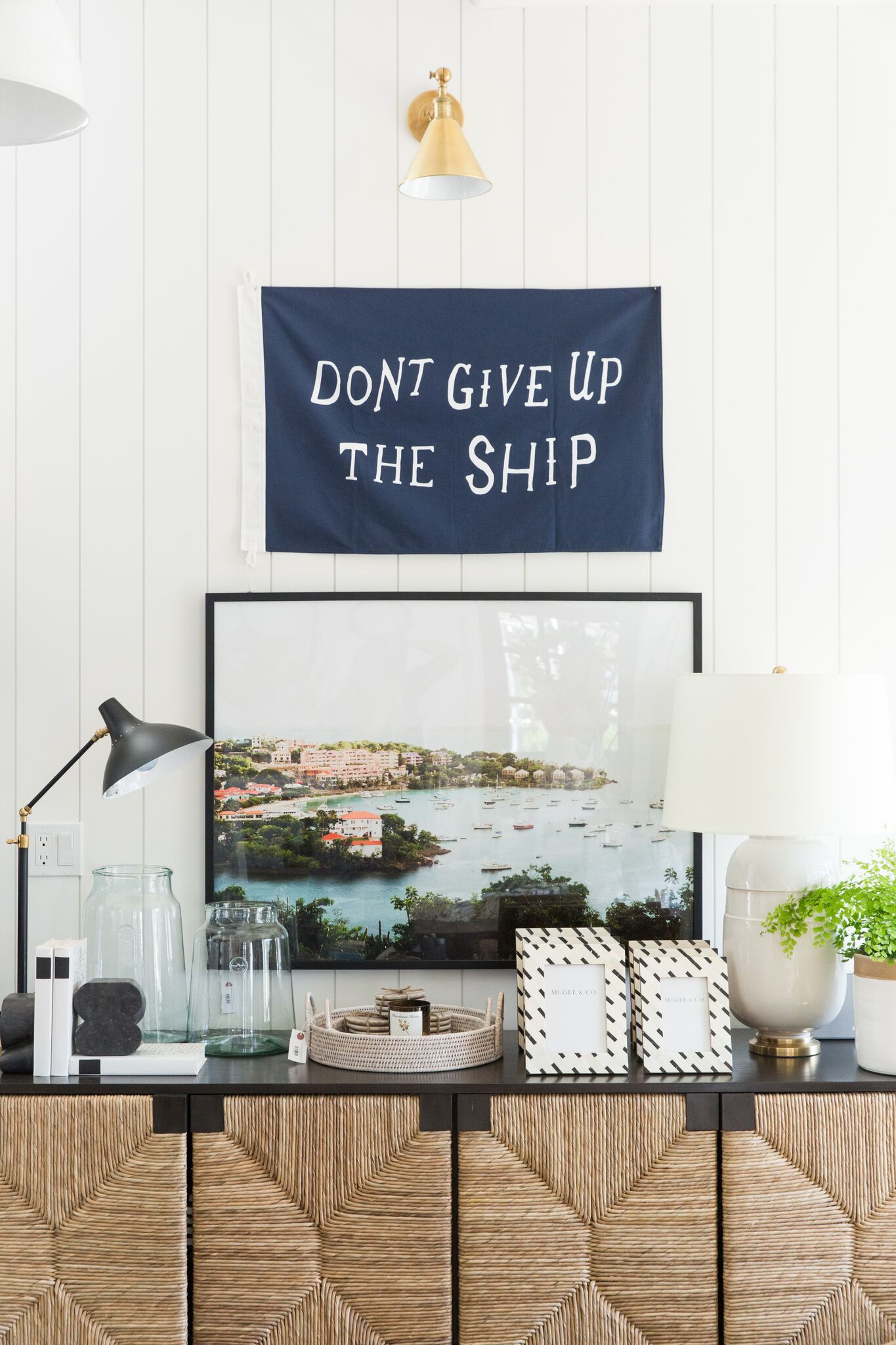 Shop  Don't Give Up The Ship ,  Charlton Table Lamp ,  French Mason Jars ,  Black Label Books ,  Socrates Bookends ,  Light Rattan Round Trays ,  Murchison-Home Candle ,  Tile Frame ,  Newcomb Table Lamp ,  St John ,  Console