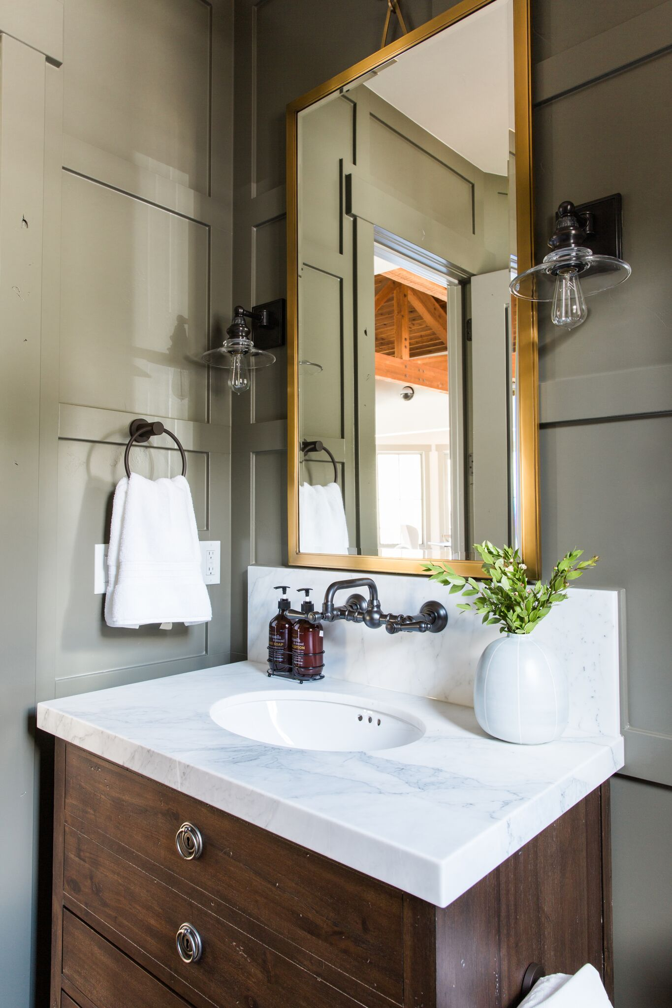 Covington Shield Sconce  +  Rounded-Edge Mirror   (from the    Park City Canyons Remodel   )