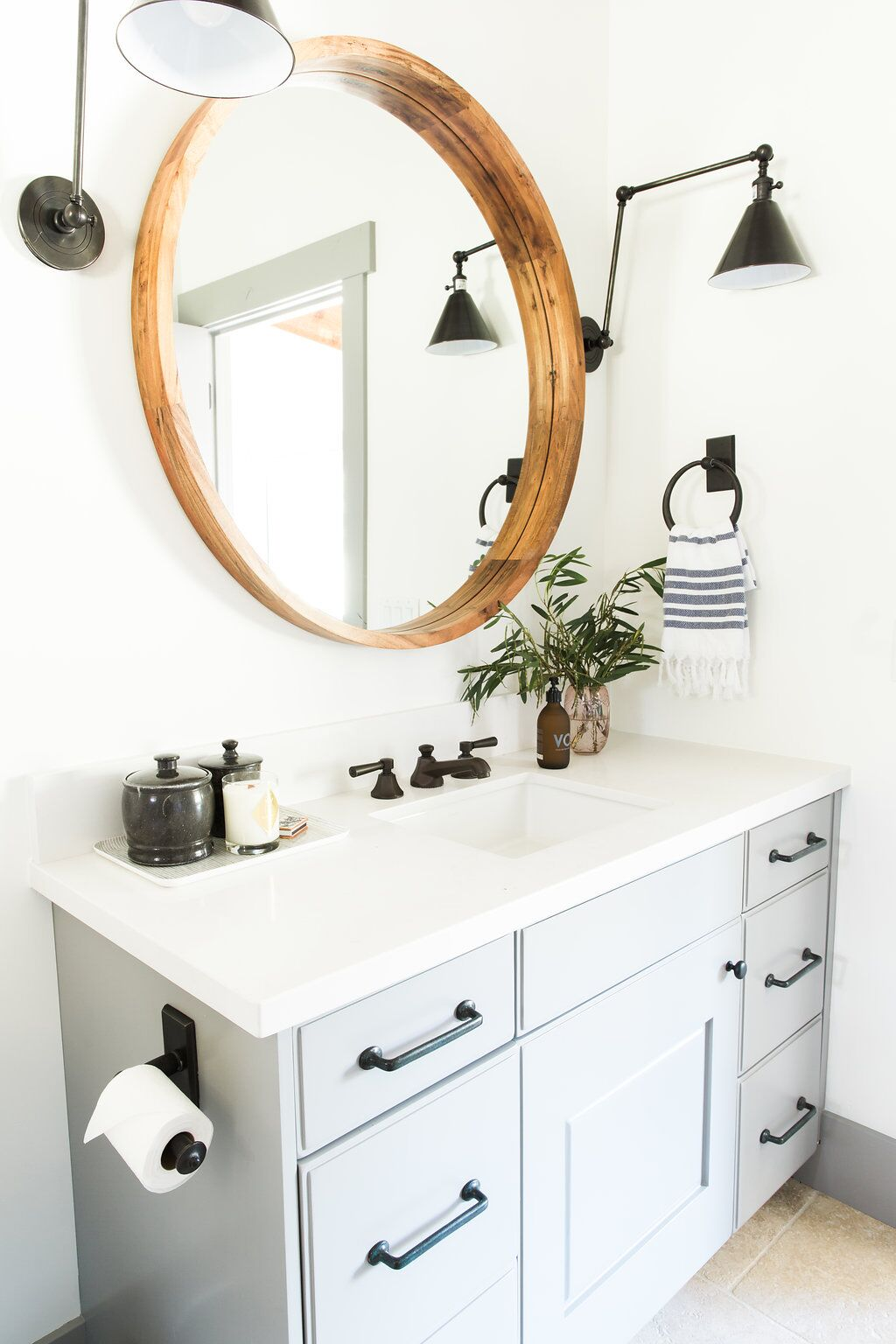 Boston Double Arm Sconce  +  Acacia Wood Mirror   (from the    Park City Canyons Remodel   )