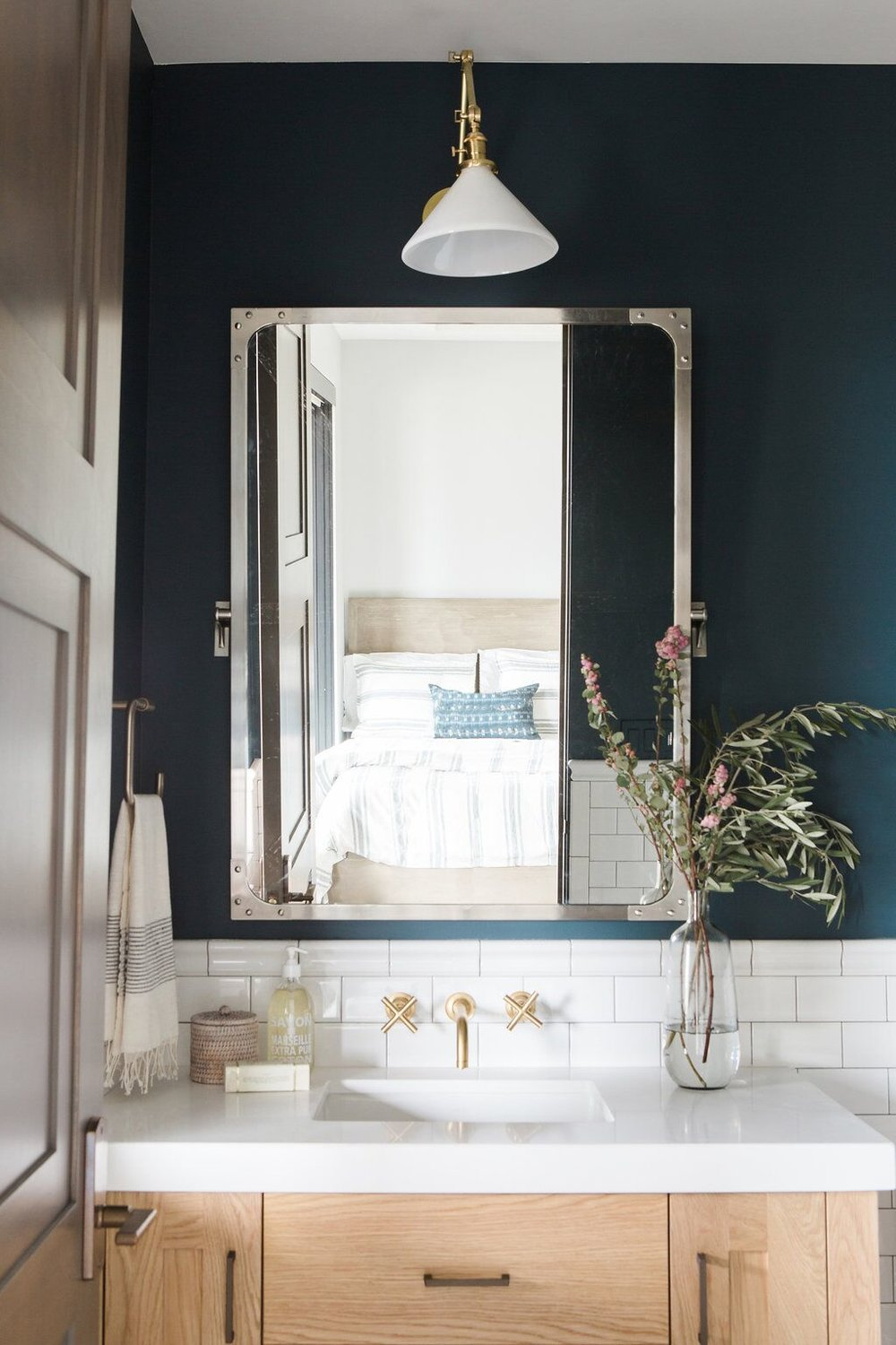 (Similar)  Katie Conical Sconce  +  Industrial Wall Mirror   (from our    Park City Canyons Remodel   )
