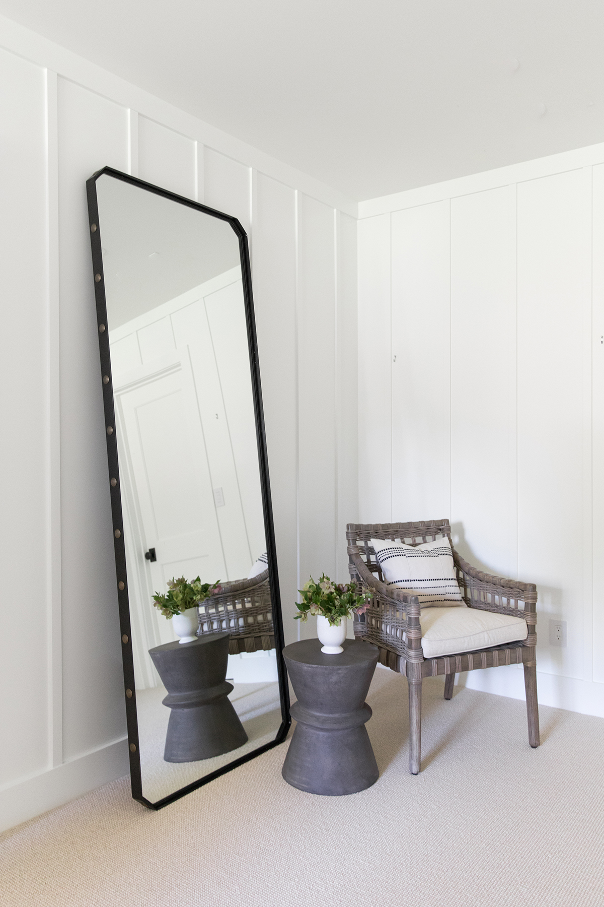 Natural, textured bedroom with floor length mirror and fort batten wall detail | Studio McGee Blog