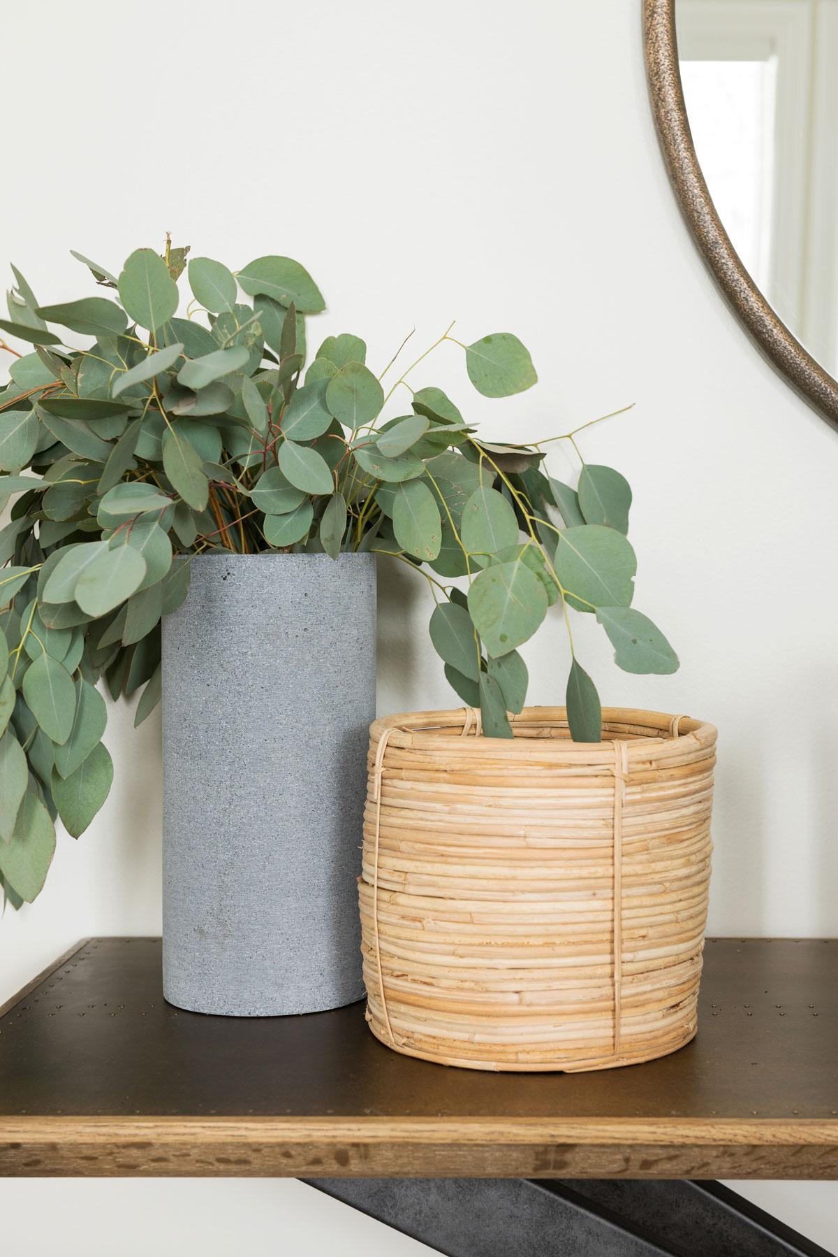 Rattan Basket  +  Volcano Vase