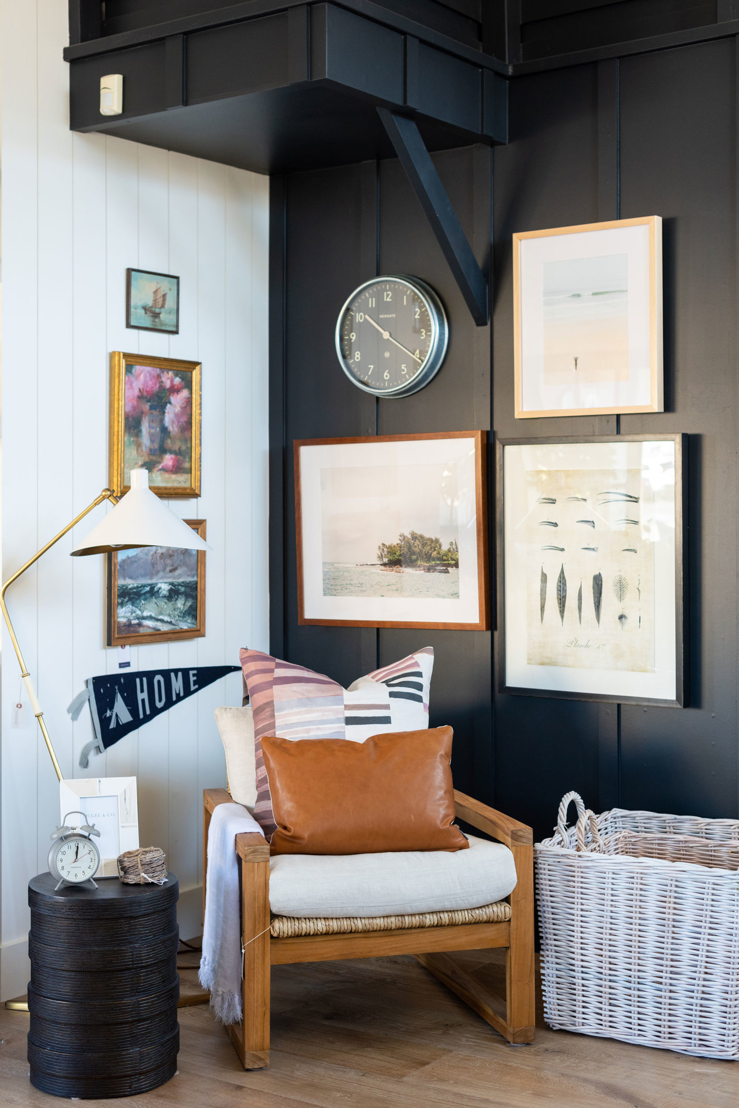 Cosette Chair   ,    SM pillows   ,    Harley Side Table   ,    New York Wall Clock   ,    Peonies & Vase   ,    La Vague   ,    Home Pennant   ,    Hana Photograph   ,    Surf Break
