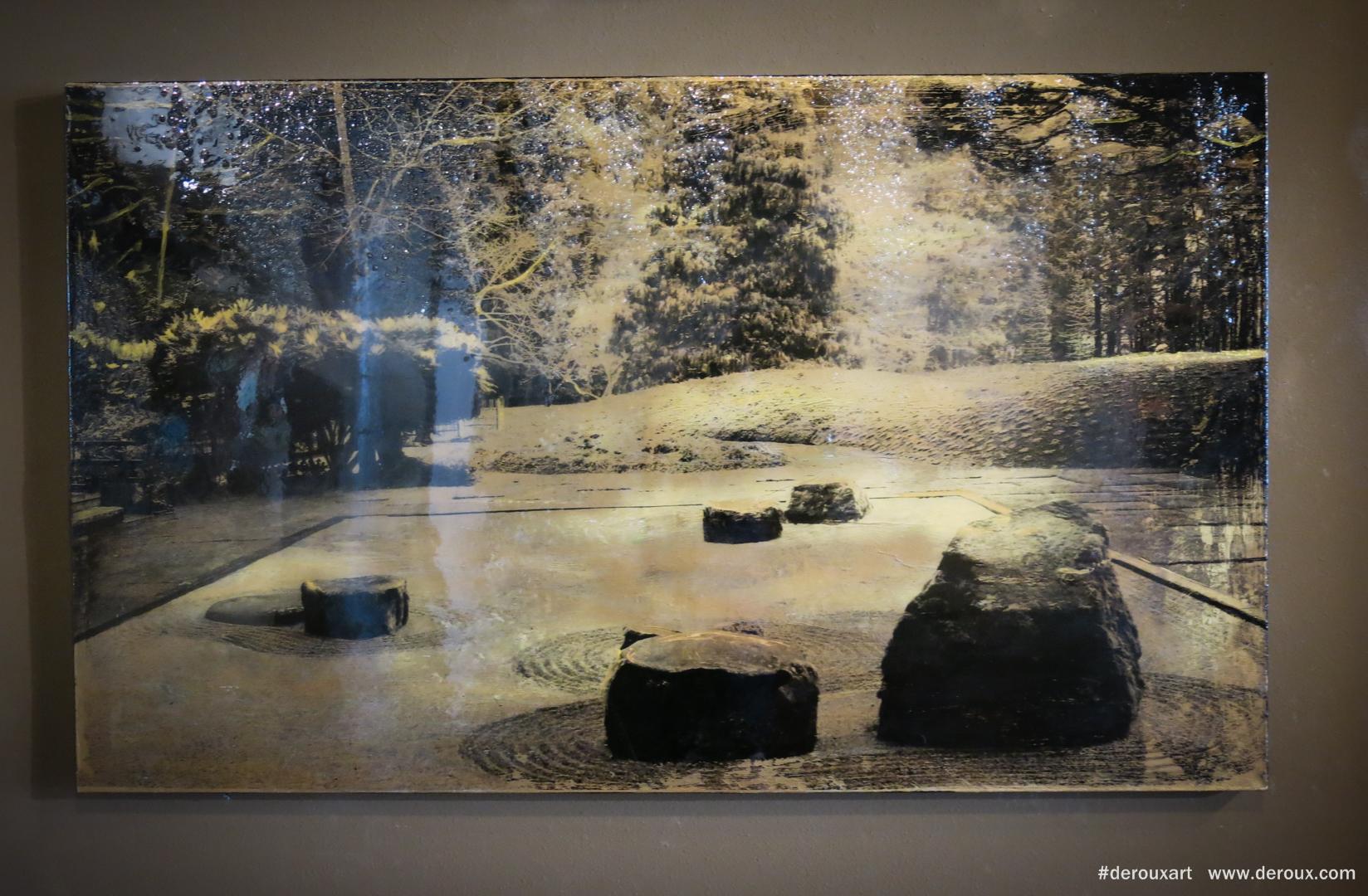 Bloedel Reserve Zen Garden , Resin, mixed mediums on canvas. 2015