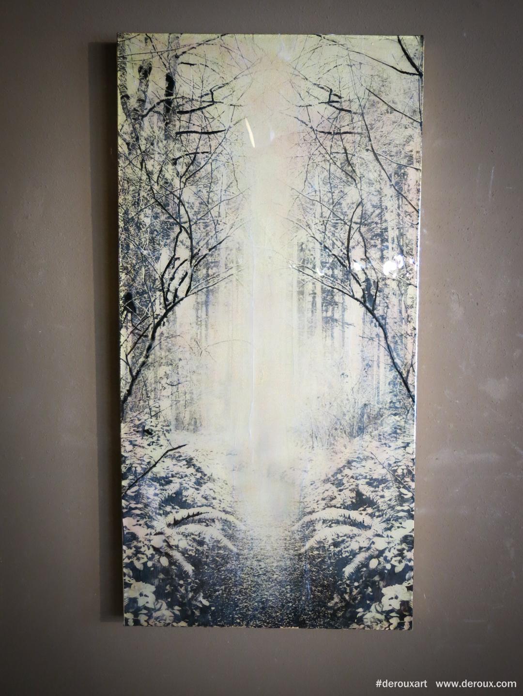 Bloedel #1,  48x24, Resin, mixed mediums on canvas. 2015