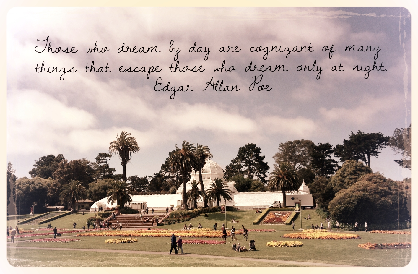 Original photo featuring the Conservatory of flowers at Golden Gate Park, San Francisco