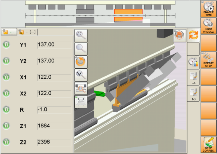 Operator guidance during bend simulation shows axes data, bend station and orientation of part.