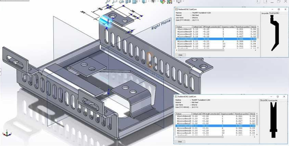 Drafting software such as SolidWorks can integrate seamlessly with various brands of bend simulation software.