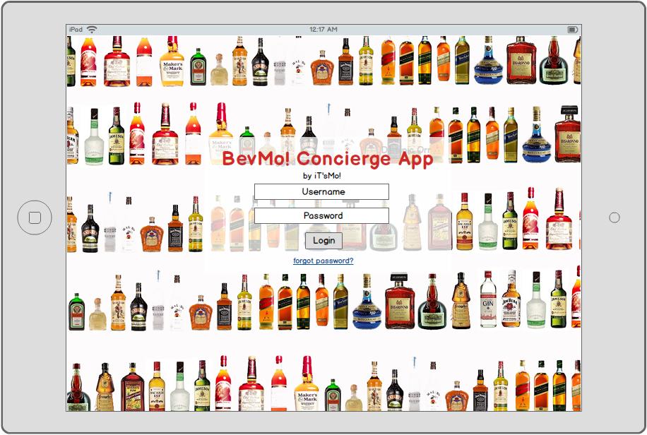 BevMo! Concierge App Login Page