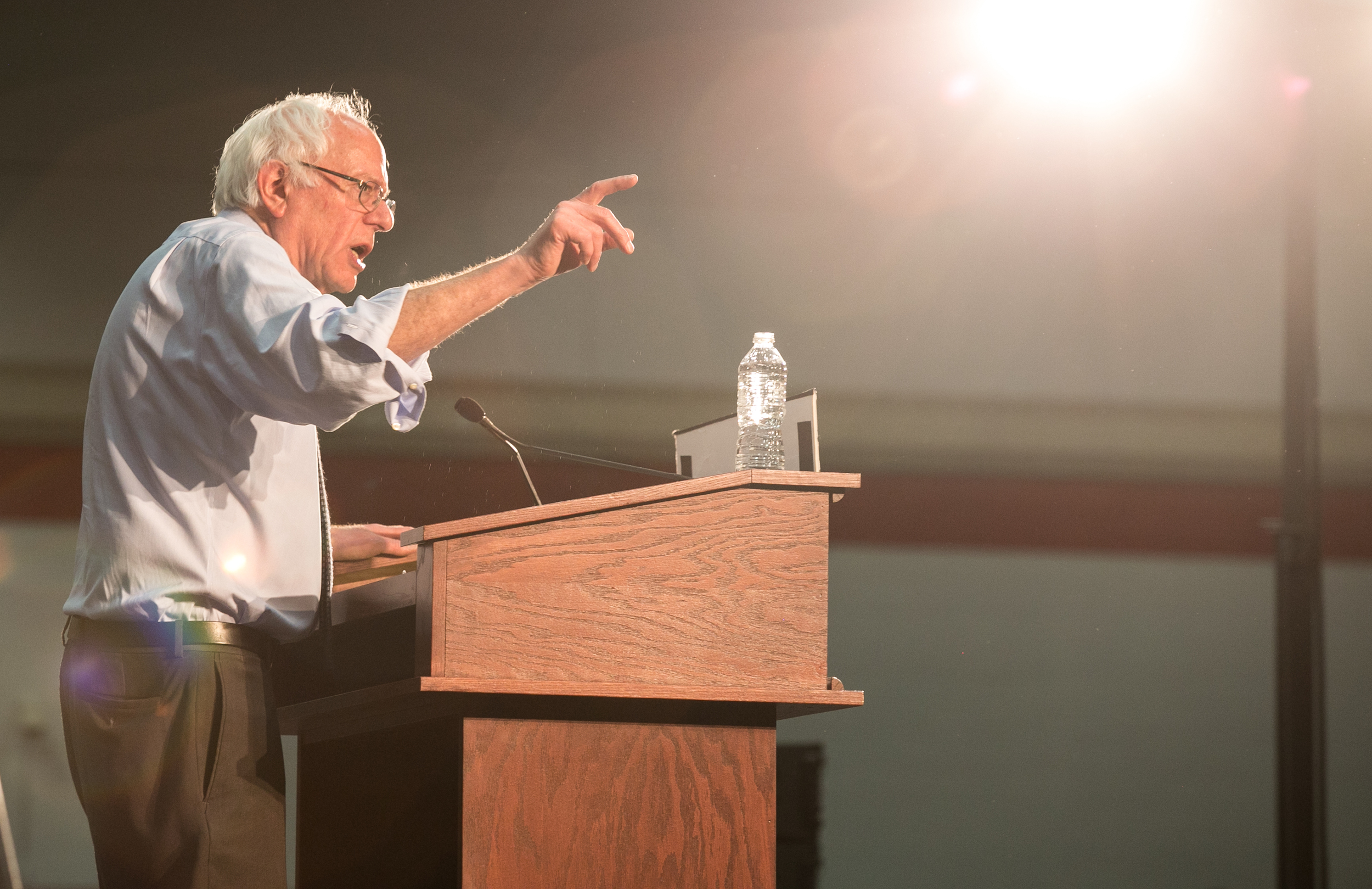 "February 29, 2016 - U.S. Senator Sanders D-Vt. speaks at a rally in Milton, Mass. on the eve of Super Tuesday. ""Ready for a radical idea? Well here it is,"" Sanders said. ""We're going to create an economy that works for everybody and not just the one percent."" Sanders and his grassroots movement will face off with Super PAC-funded Secretary of State Hillary Clinton in a battle over 11 states. The March 1 vote will consist of more than 800 delegates, or one third of the delegates needed to claim the democratic nomination in the U.S. presidential election.  ©Mike Schwarz"