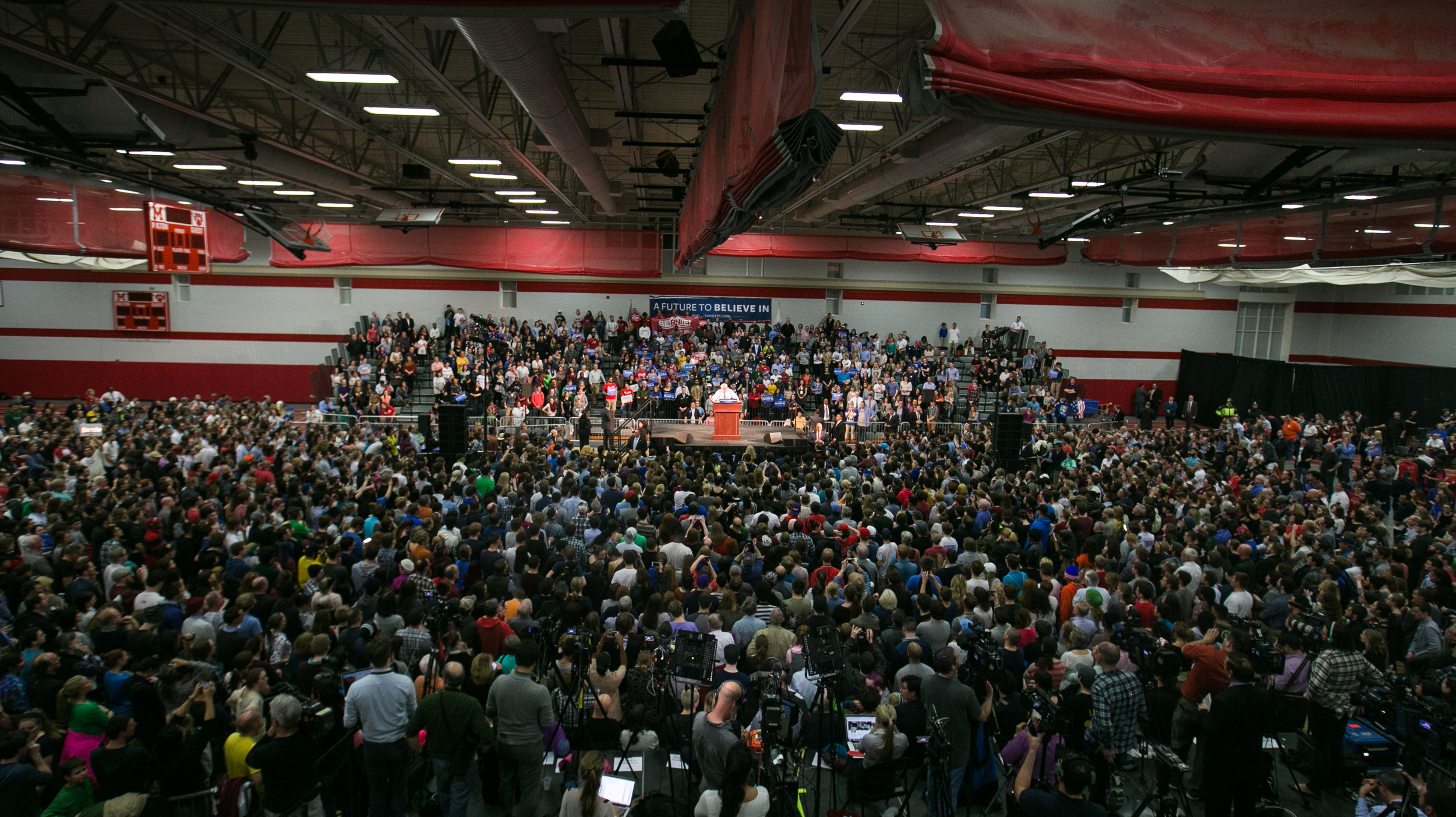 "February 29, 2016 - U.S. Senator Sanders D-Vt. speaks at a rally of 3330 voters in Milton, Mass. on the eve of Super Tuesday. ""Massachusetts led the American Revolution,"" Sanders said. ""Now it's time for your state to lead a political revolution."" Sanders and his grassroots movement will face off with Super PAC-funded Secretary of State Hillary Clinton in a battle over 11 states. The March 1 vote will consist of more than 800 delegates, or one third of the delegates needed to claim the democratic nomination in the U.S. presidential election. ©Mike Schwarz"