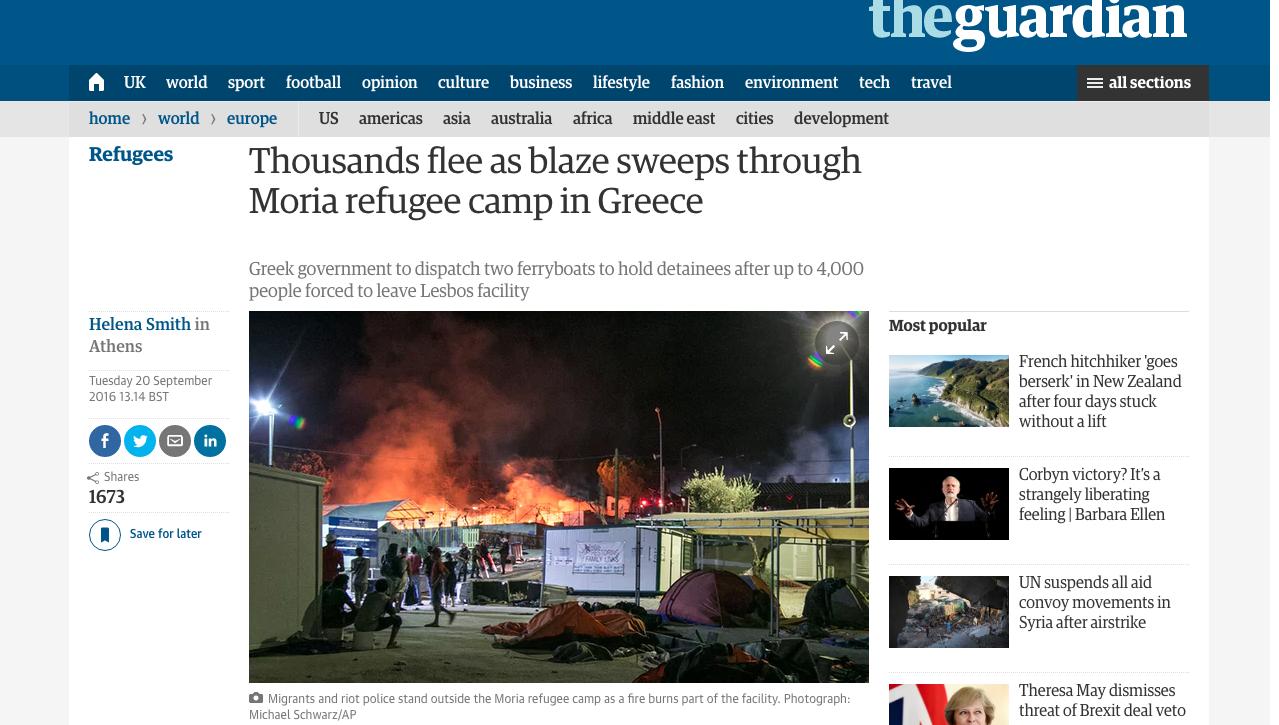 The Guardian - Moria Refugee Camp Riot Coverage
