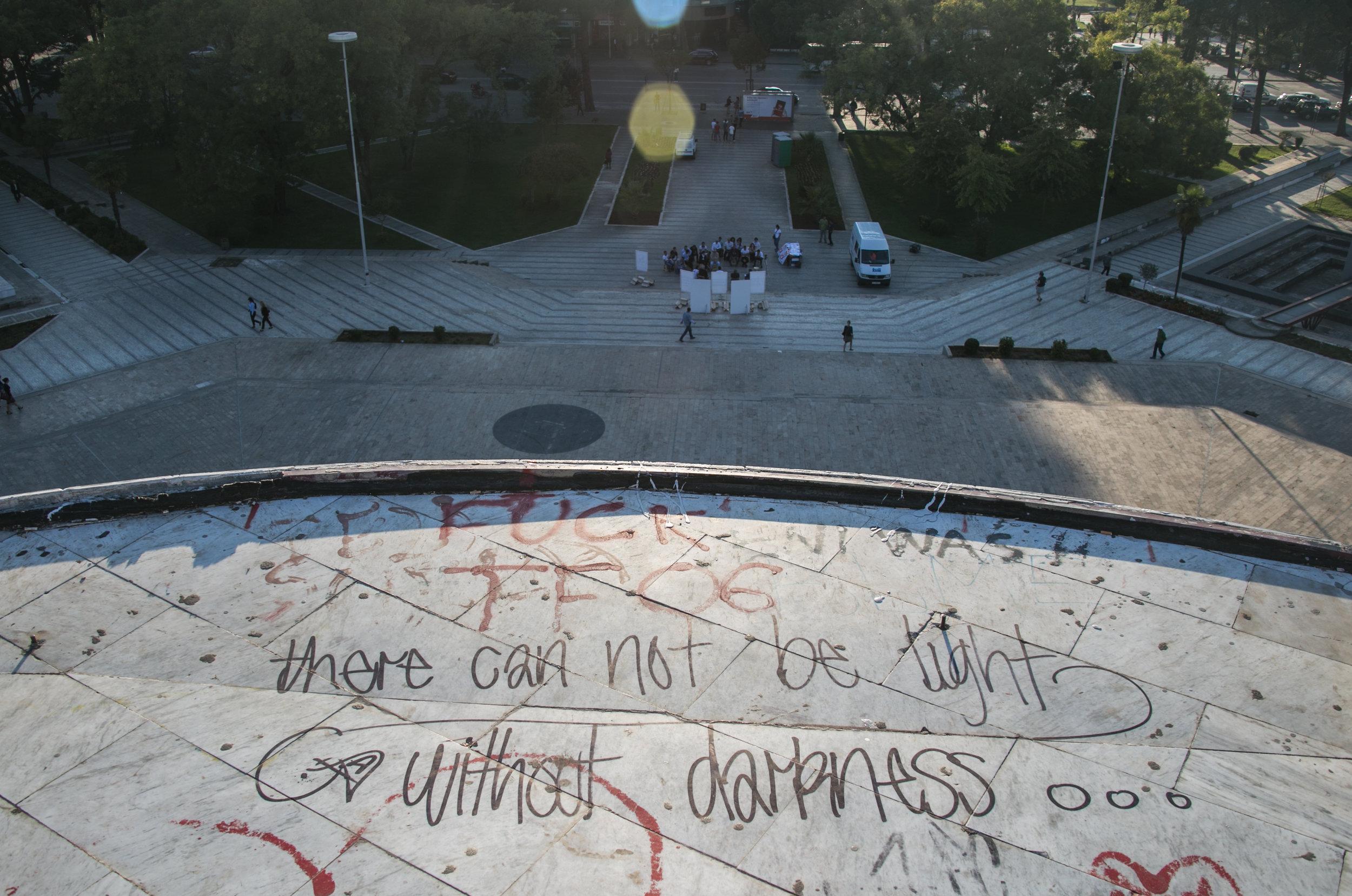 Grafiti atop the Pyramid of Tirana.
