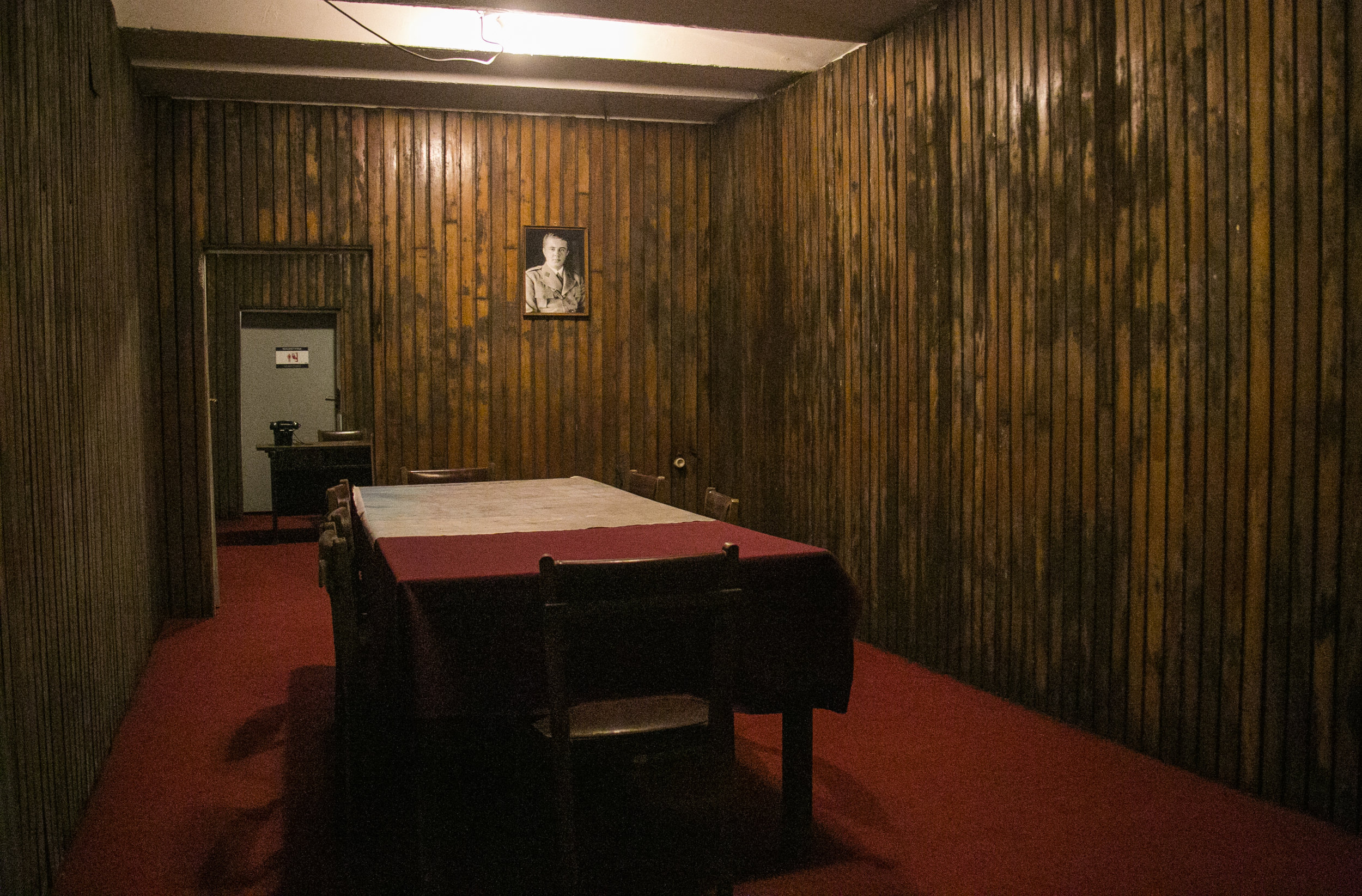 The officers meeting room inside an Albanian bunker capable of withstanding a nuclear explosion. There are over 168,000 bunks throughout Albania.
