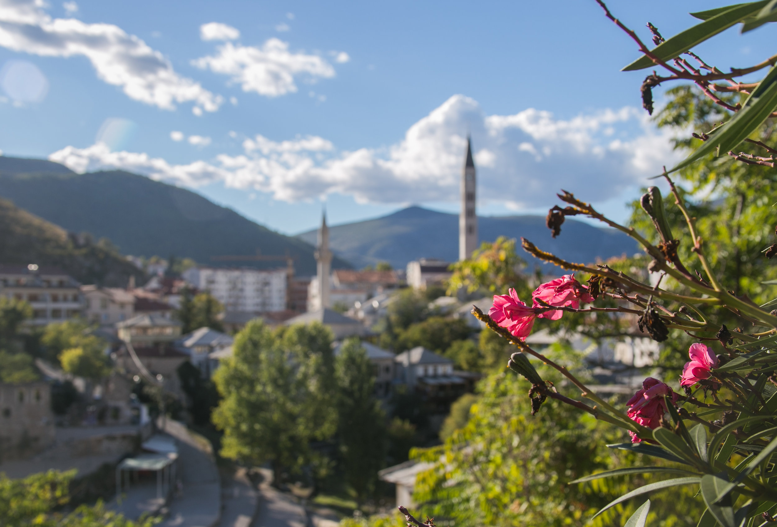 A view of Mostar from one of the public parks along the river.