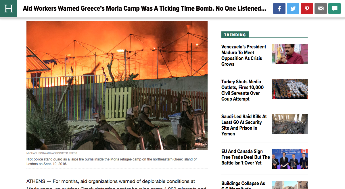 The Huffington Post - Moria Refugee Camp Riot Coverage