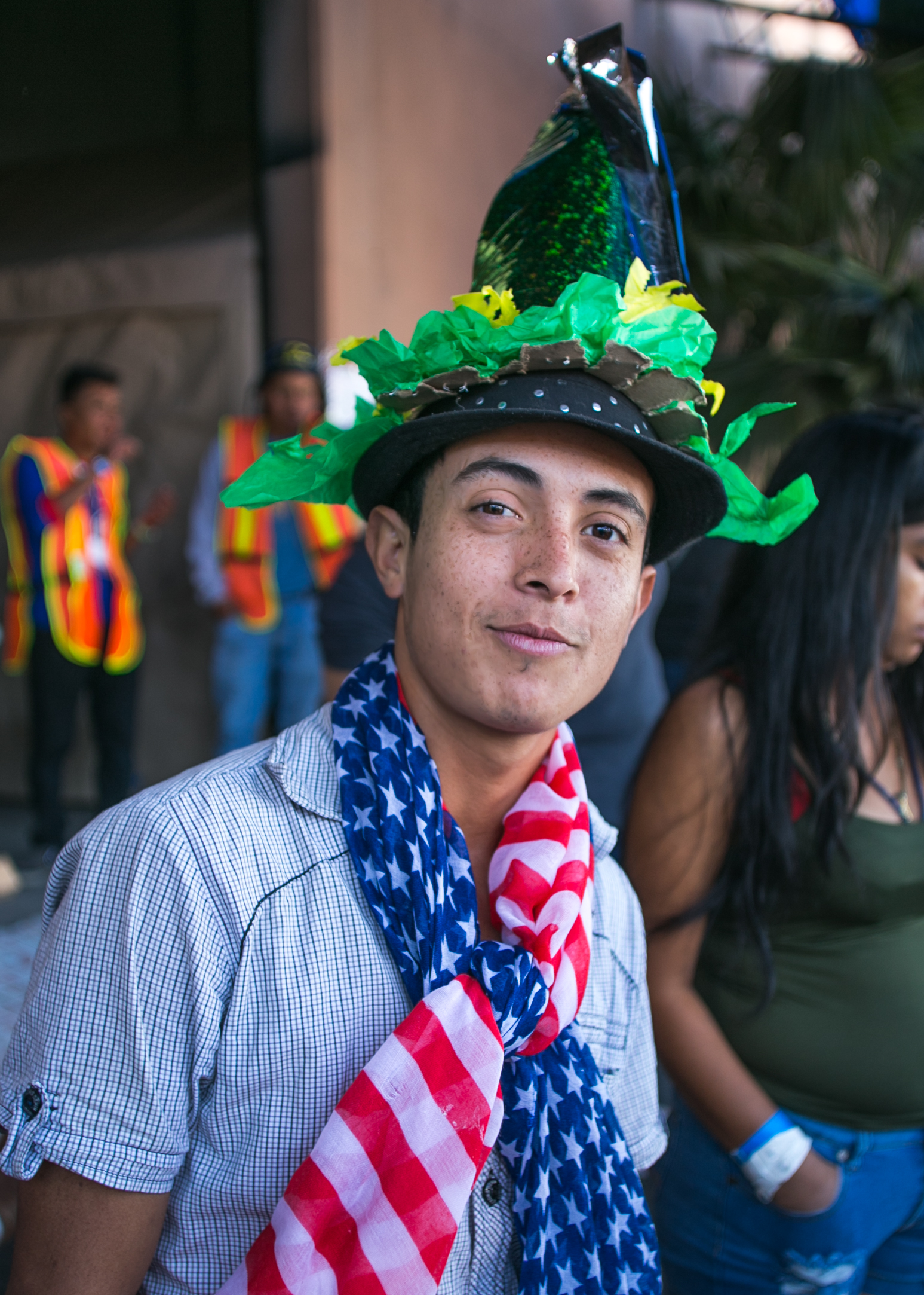 A refugee smiles during a mid-day piñata party at the Barretal camp located in Tijuana, Mexico.