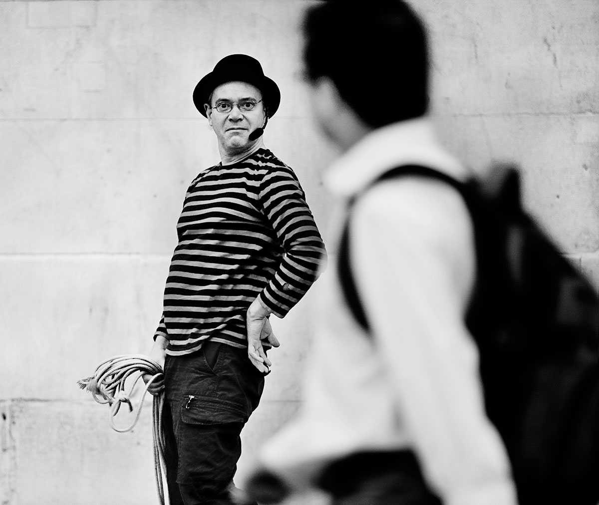 Street performer Trafalgar Sq London.
