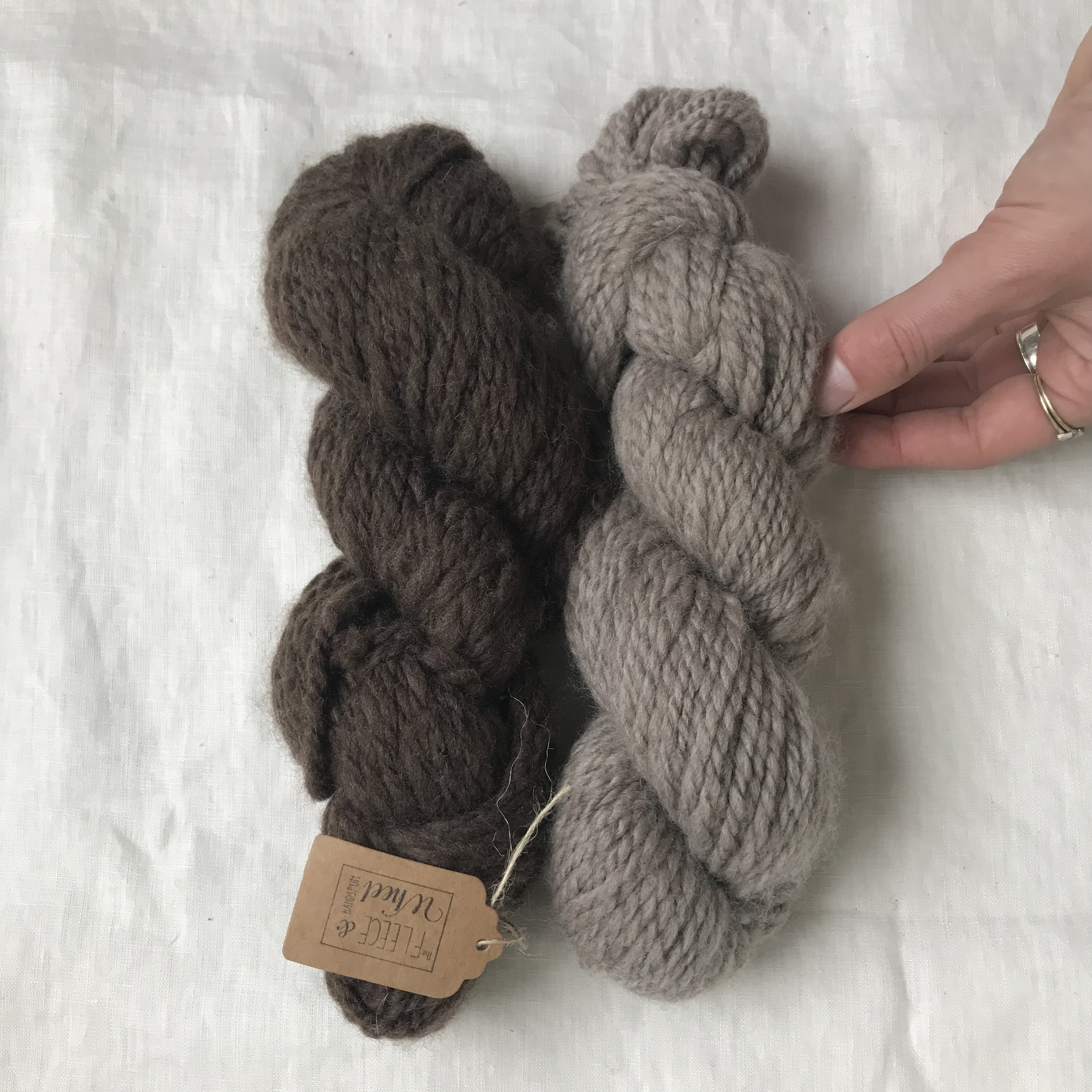 the loveliest gift from a podcast guest, Emma of Fleece and the Wheel, handspun