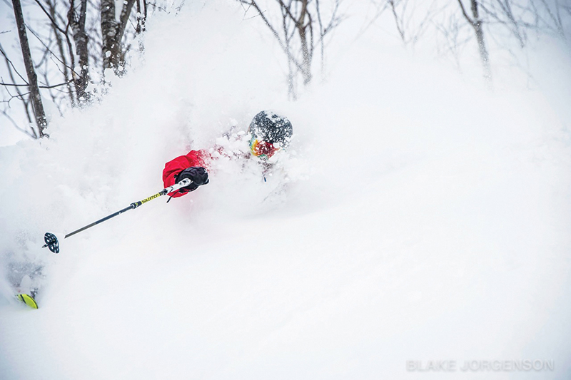 Though he's known for skiing steep and deep powder and even flying over hills like a super hero (top), Mark Abma believes you don't need to be an extreme skier to have a great time on B.C.'s slopes. Blake Jorgenson