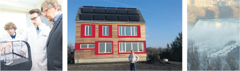 Ontario's engineers are exploring ways to shift to energy sources that don't rely on carbon-based fuels. Left: Dr. Brant Peppley, of Queen's University, has led the five-year Energy Storage and Recovery Ontario initiative, which has made significant advances in fuel cell technology. Centre: At a custom-built house in Ottawa, Dr. Ian Beausoleil-Morrison of Carleton University and his team are testing innovations in solar energy and other zero-carbon technologies. Right: Improving our existing low-carbon energy sources, like hydro power, is a focus of the work of Dr. Bryan Karney of the University of Toronto. supplied