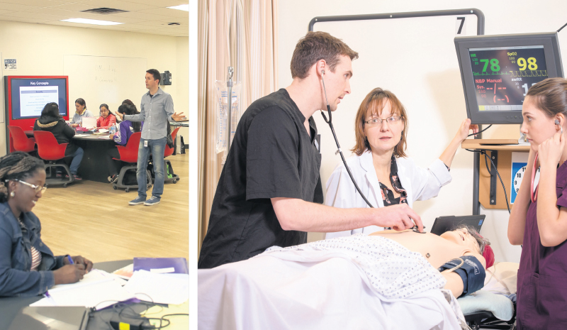 Students at Humber College and BCIT are immersed in collaborative and hands-on learning environments. HIVES, Humber's interactive learning spaces create environments that mirror paramedics, nurses, pharmacy techs and others working together (left). BCIT students (right) practise with life-size robots, which simulate symptoms such as plummeting blood pressure, cardiac arrest or uncontrolled bleeding. supplied