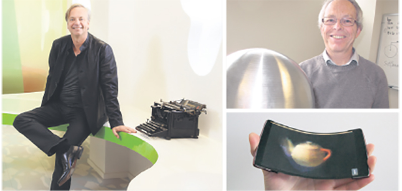 The work of Queen's University professors Roel Vertegaal (left) and Gilles Gerbier (right) enables the continuation ofa powerful legacy in research excellence, which includes Arthur McDonald becoming co-winner of the Nobel Prize in physics in 2015. Outcomes include a holographic flexible smartphone called HoloFlex. supplied