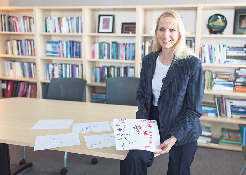 Dr. Jo Towers with a child's artistic interpretation of math. supplied