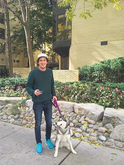 Grant Leeder knows that it is important to test his blood sugar when he is going to exert higher energy – such as when he takes his dog Luna for a walk. supplied