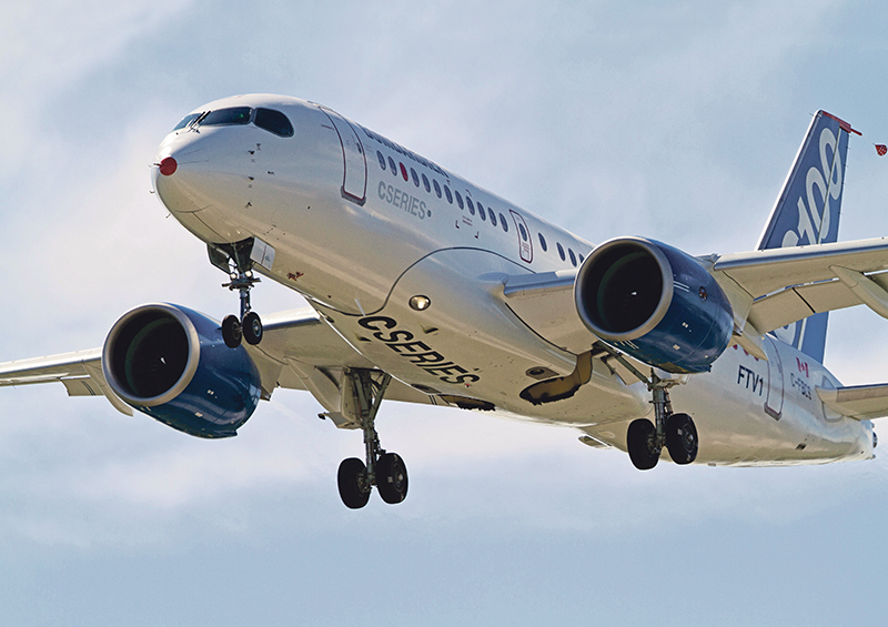 Bombardier's CSeries jet will play a big part in boosting the value of Canada's aerospace exports in 2016 and 2017. supplied