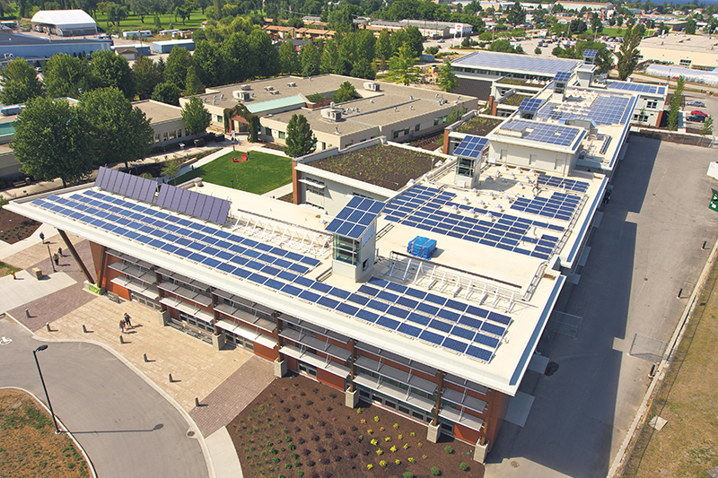 Okanagan College's Jim Pattison Centre of Excellence in Sustainable Building Technologies and Renewable Energy Conservation is considered the greenest building in North America's post-secondary sector. supplied